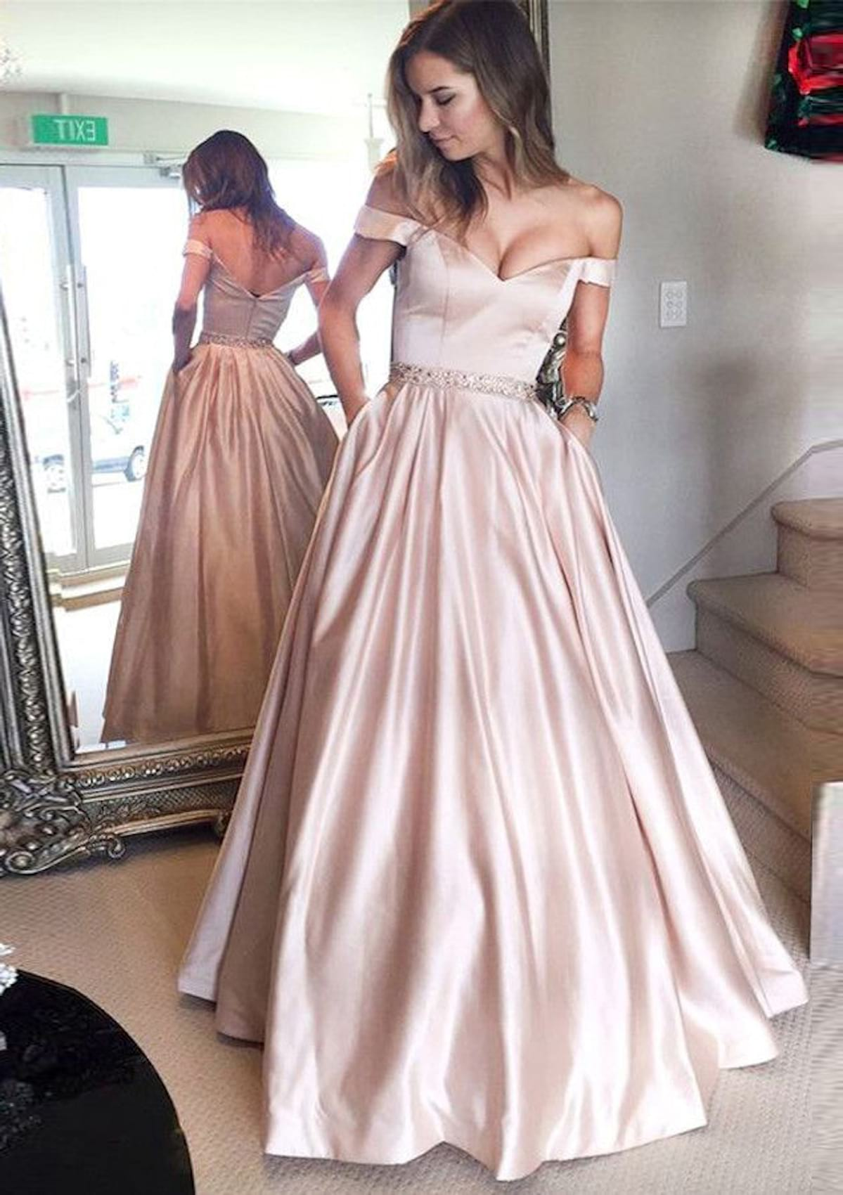 Ball Gown Off The Shoulder Sleeveless Long Floor Length Satin Prom