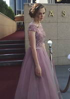 A-Line/Princess Bateau Sleeveless Long/Floor-Length Tulle Prom Dress With Beading
