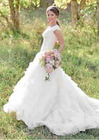 Ball Gown V Neck Sleeveless Asymmetrical Organza Wedding Dress With Lace