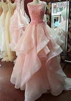 A-Line/Princess Bateau Sleeveless Sweep Train Organza Prom Dresses With Appliqued Waistband