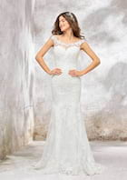 Trumpet/Mermaid Sleeveless Sweep Train Tulle Wedding Dress With Appliqued/Sequins