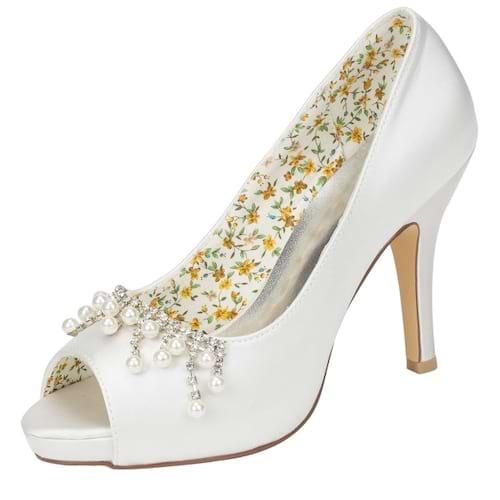 Women Lace Pearl Wedding Shoes Romantic High Heel Bride Shoes Charm Platform Pumps White Large Size