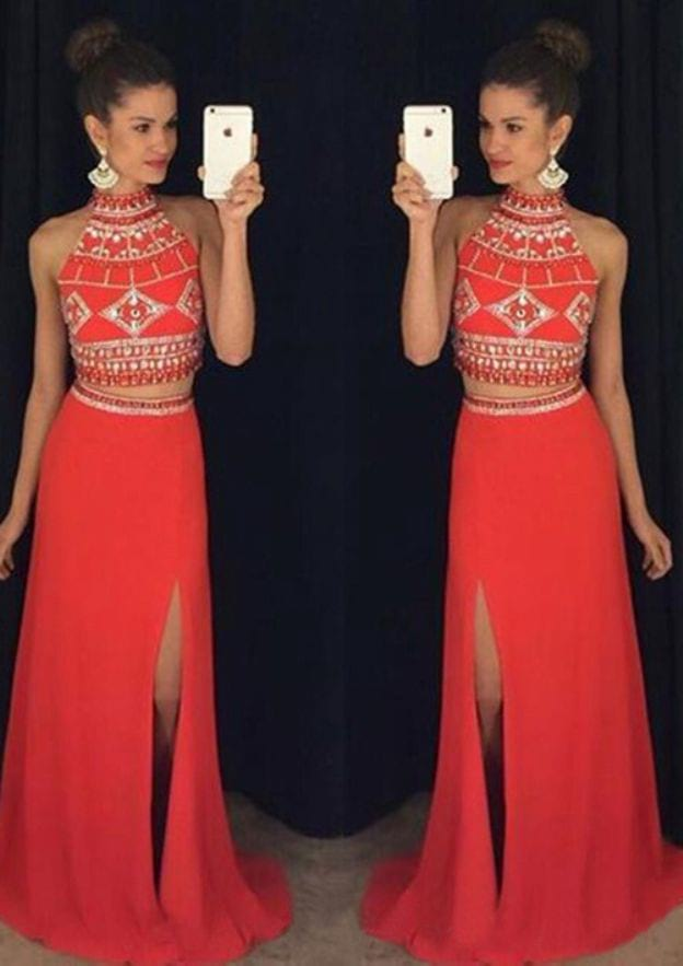 A-Line/Princess High-Neck Sleeveless Sweep Train Jersey Prom Dress With Rhinestone Split