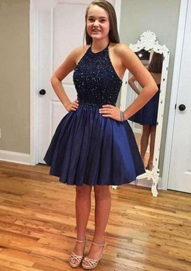 A-Line/Princess Halter Sleeveless Short/Mini Taffeta Homecoming Dress With Beading