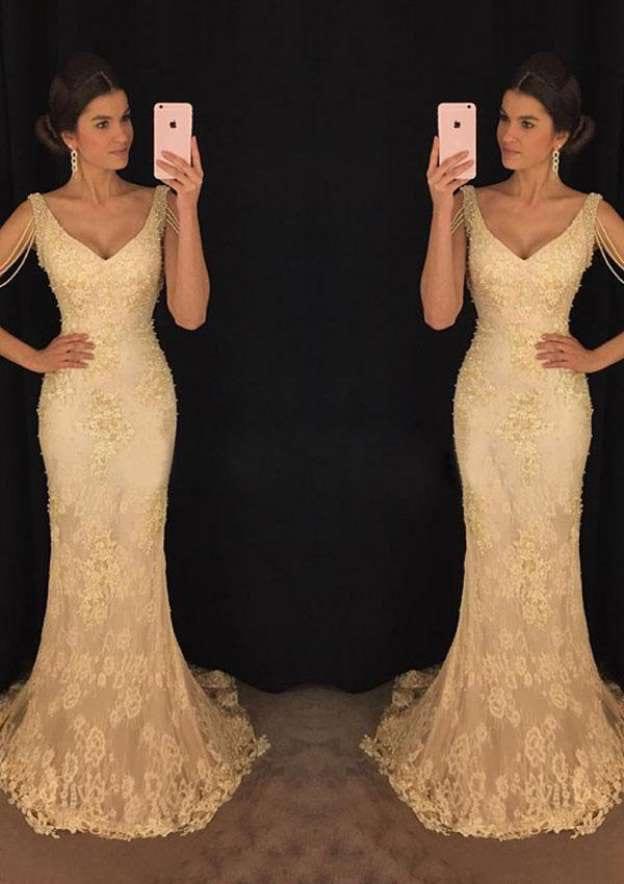 Sheath/Column V Neck Sleeveless Sweep Train Lace Prom Dress With Beading