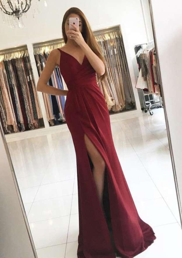 A-Line/Princess V Neck Sleeveless Sweep Train Charmeuse Prom Dress With Pleated Split