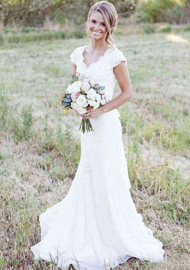 Sheath/Column Scalloped Neck Sleeveless Sweep Train Chiffon Wedding Dress With Lace