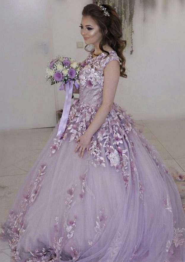 Sheath/Column Scoop Neck Sleeveless Chapel Train Tulle Wedding Dress With Appliqued Flowers
