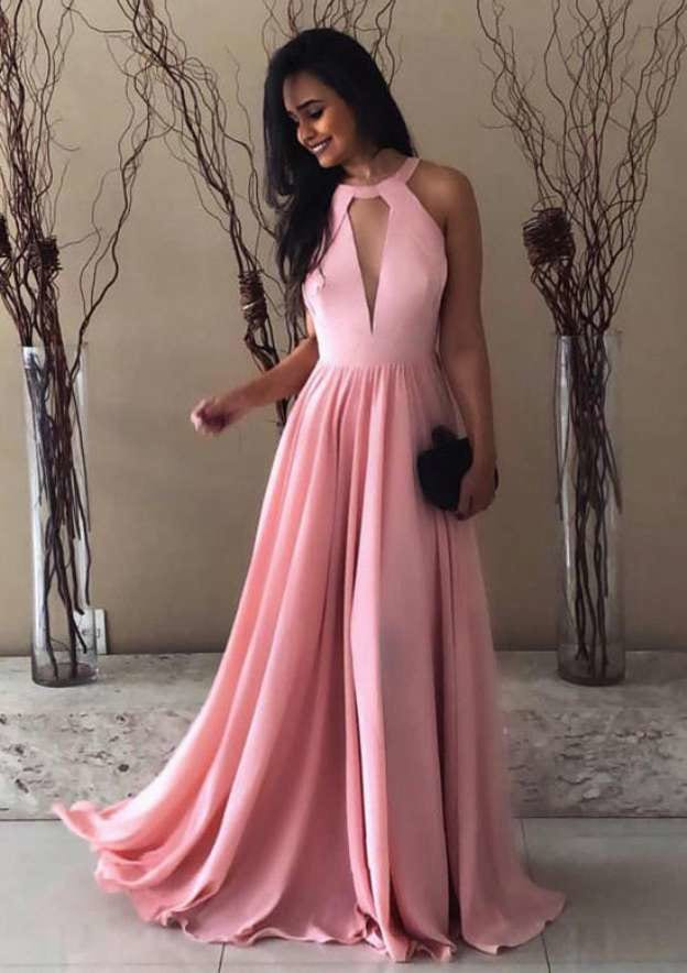A-Line/Princess Scoop Neck Sleeveless Long/Floor-Length Elastic Satin Evening Dress With Pleated