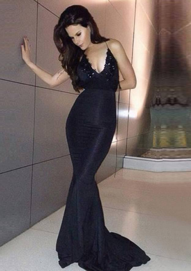 Trumpet/Mermaid V Neck Sleeveless Sweep Train Satin Evening Dress With Beading Appliqued