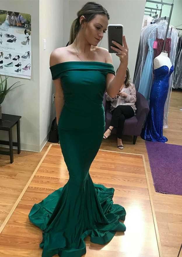 Trumpet/Mermaid Off-The-Shoulder Sleeveless Court Train Charmeuse Evening Dress