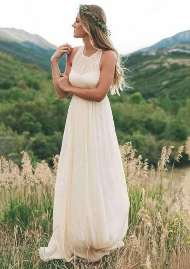 A-Line/Princess Scoop Neck Sleeveless Long/Floor-Length Chiffon Wedding Dress With Pleated