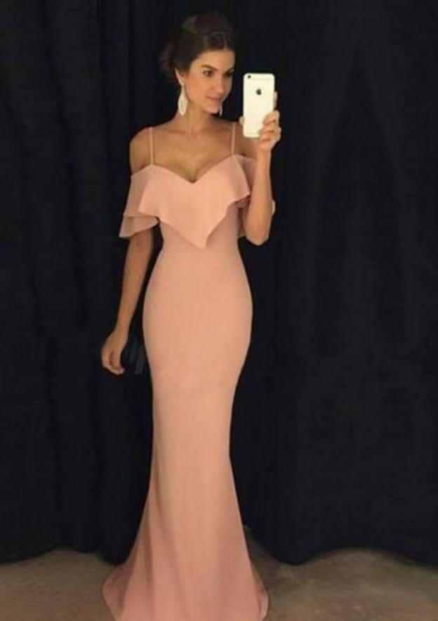 Sheath/Column V Neck Sleeveless Sweep Train Jersey Prom Dress With Side Draping