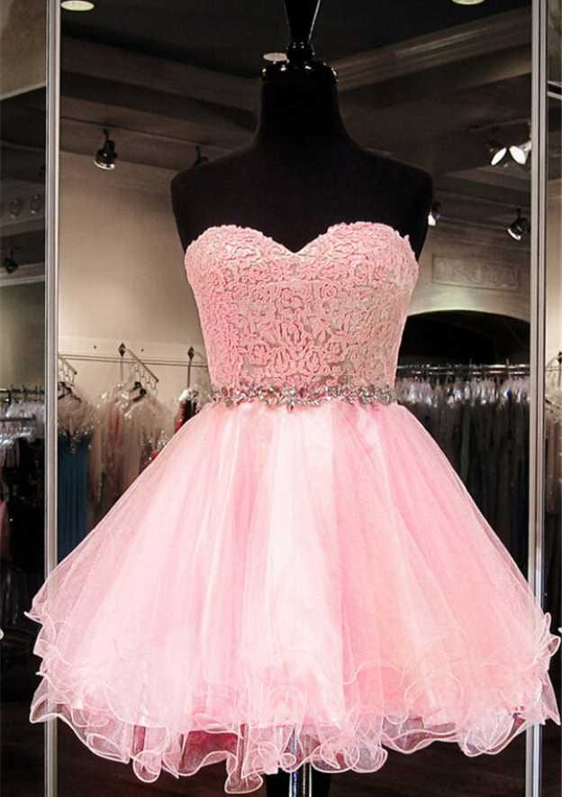 Ball Gown Sweetheart Sleeveless Short/Mini Organza Homecoming Dress With Rhinestone Lace Waistband
