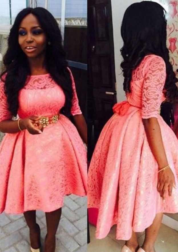 Ball Gown Bateau Half Sleeve Tea-Length Lace Prom Dress With Pleated Waistband