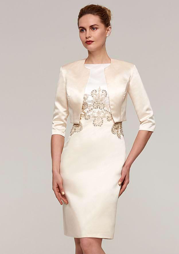 Sheath/Column Bateau Sleeveless Knee-Length Satin Mother Of The Bride Dress With Jacket Appliqued Beading