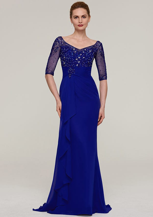 Sheath/Column V Neck Half Sleeve Sweep Train Chiffon Evening Dress With Crystal Detailing Pleated Ruffles
