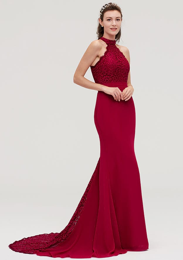 Trumpet/Mermaid Scoop Neck Sleeveless Court Train Chiffon Evening Dresses With Lace