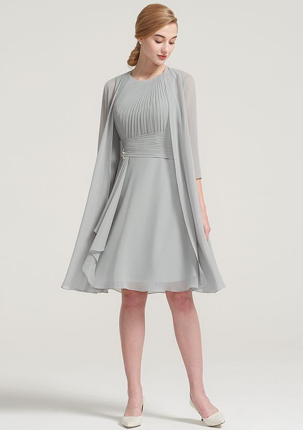A-Line/Princess Scoop Neck 3/4 Sleeve Knee-Length Chiffon Mother Of The Bride Dress With Jacket Pleated Beading