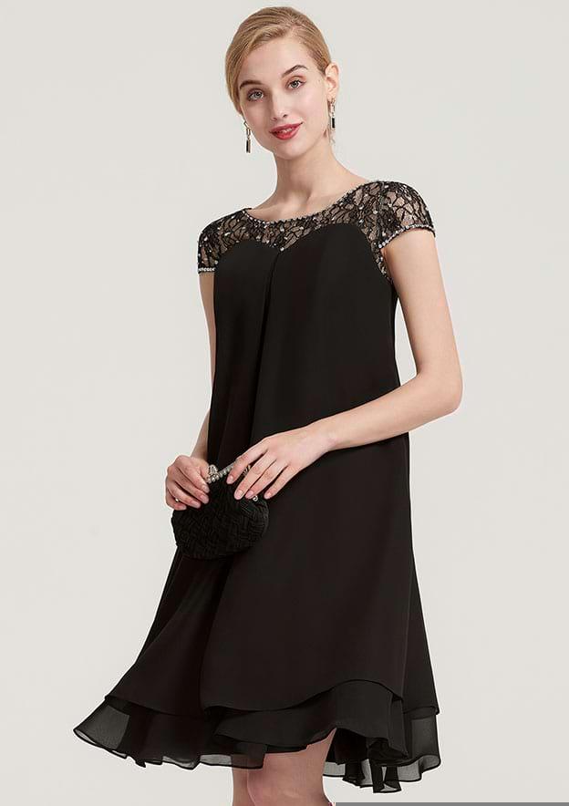 A-Line/Princess Bateau Short Sleeve Knee-Length Chiffon Mother Of The Bride Dress With Beading Ruffles