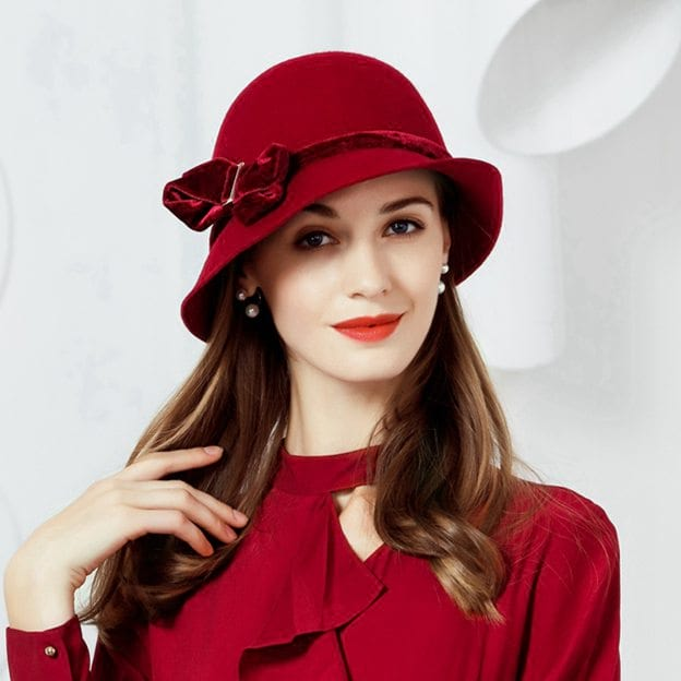 Ladies' Elegant/Eye-catching Wool Bowler/Cloche Hats/Tea Party Hats With Bowknot