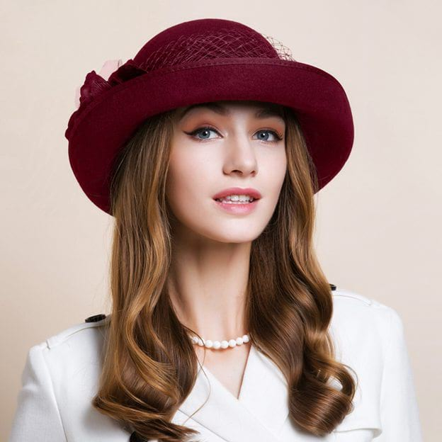 Ladies' Elegant/Charming Wool Bowler/Cloche Hats/Tea Party Hats With Tulle Flower