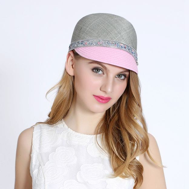 Ladies' Simple/Special Linen Baseball Caps/Beach/Sun Hats With Imitation Pearls Diamond