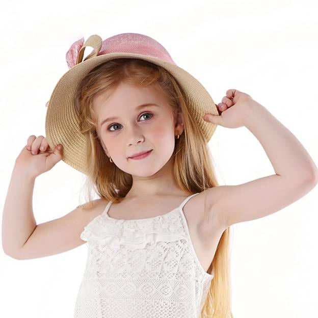 Child's Lovely/Beautiful Papyrus Linen Floppy Hats/Straw Hats With Bowknot