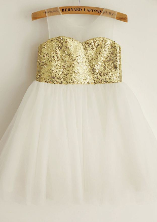 A-line/Princess Knee-Length Illusion Neck Tulle/Sequined Flower Girl Dress