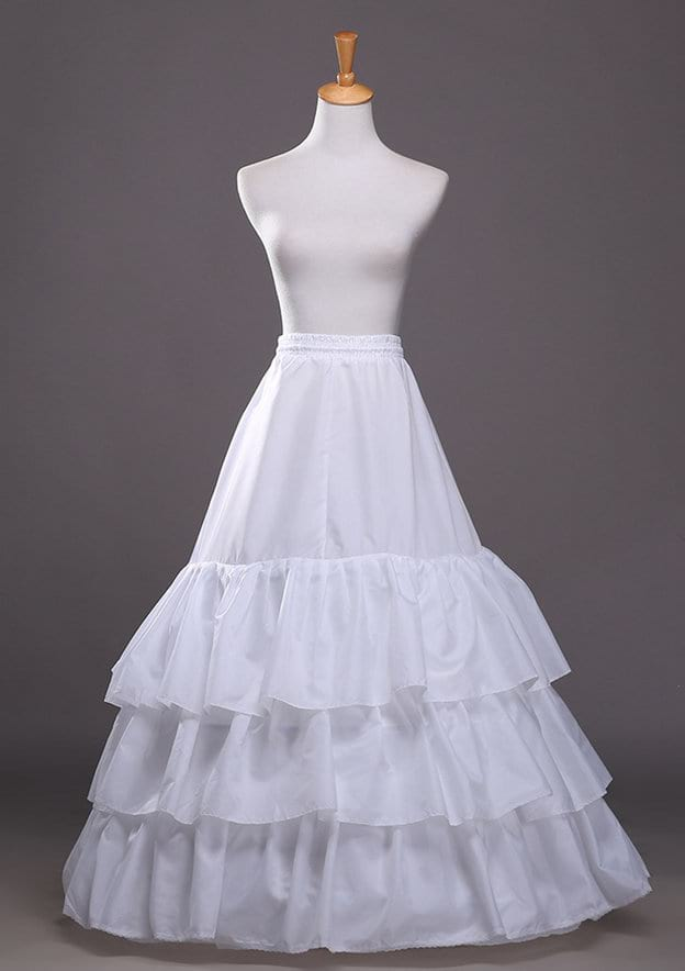 Women Polyester Long/Floor-length 3 Tiers Bridal Petticoats