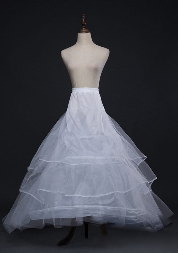 Women Polyester Tulle Netting Asymmetrical 3 Tiers Bridal Petticoats