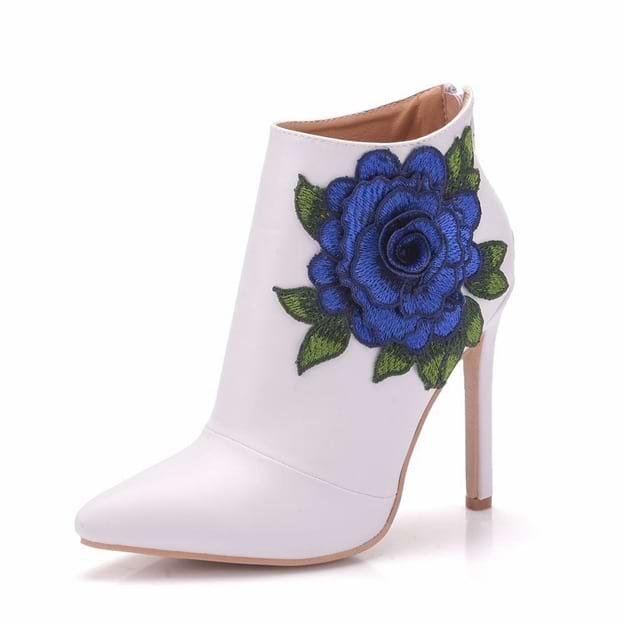 Women's PU With Flowers Heels Fashion Shoes
