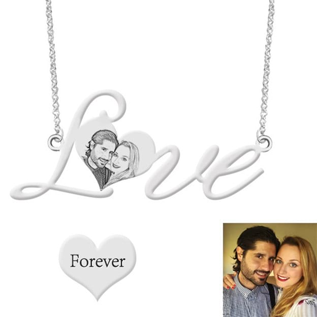Personalized Customized 925 Sterling Silver One Photo Heart Engraved Irregular Necklaces