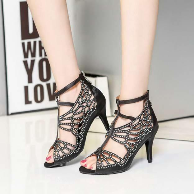 Women's Satin With Zipper/Rhinestone Heels/Peep Toe Dance Shoes