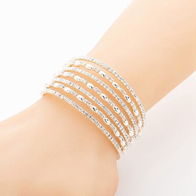 Women's Beautiful Silver Bracelets With Rhinestone For Her