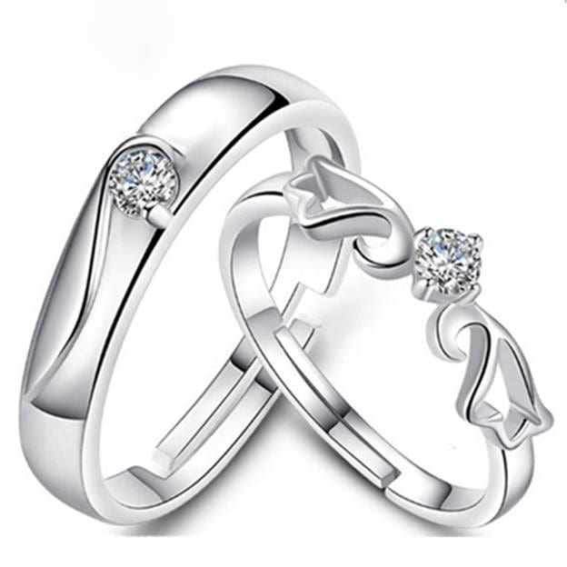 Couples' Fashionable Silver Rings With Cubic Zirconia