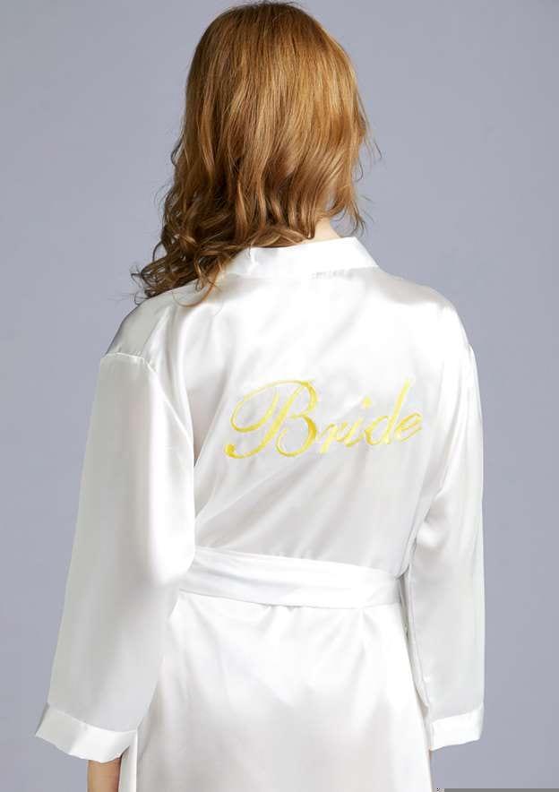 Personalized Customized Charmeuse Bride Tea-Length Robe
