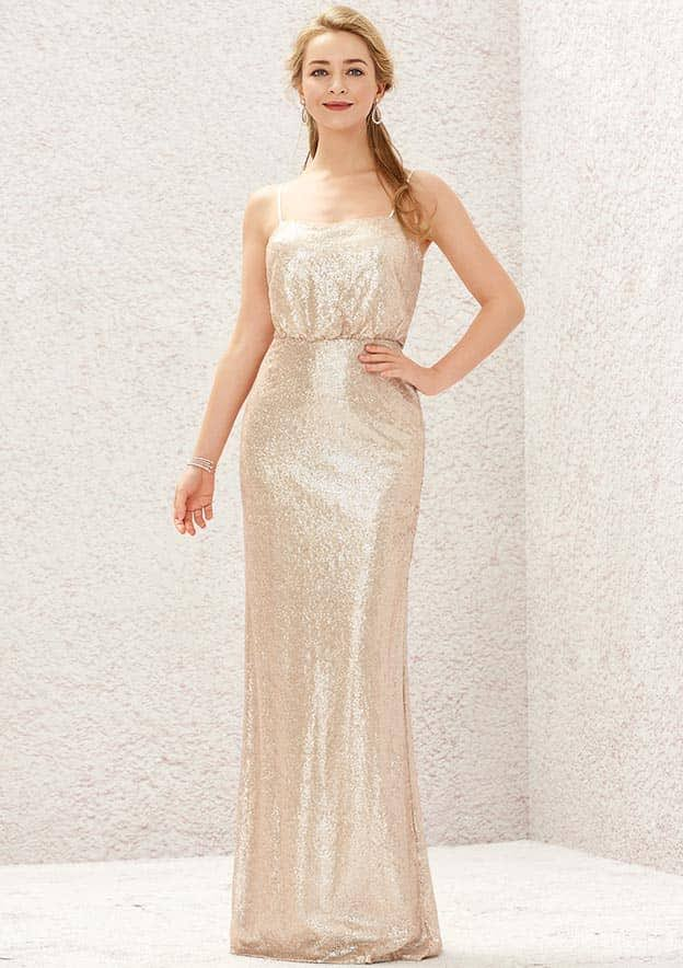 Sheath/Column Sleeveless Long/Floor-Length Sequined Bridesmaid Dress With Pleated