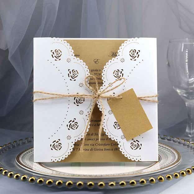 Bride & Groom Style Gate-Fold Invitation Cards 30 Piece/Set