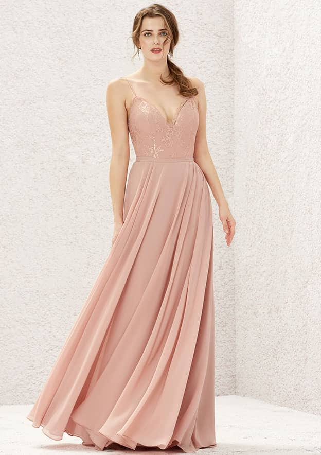 A-line/Princess Sleeveless Long/Floor-Length Chiffon Bridesmaid Dress With Pleated/Lace