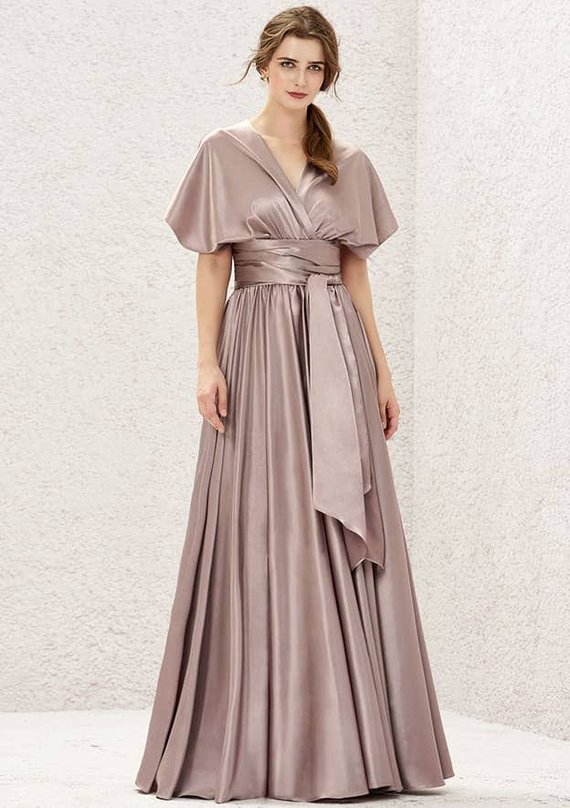 A-line/Princess Long/Floor-Length Charmeuse Convertible Bridesmaid Dress With Pleated