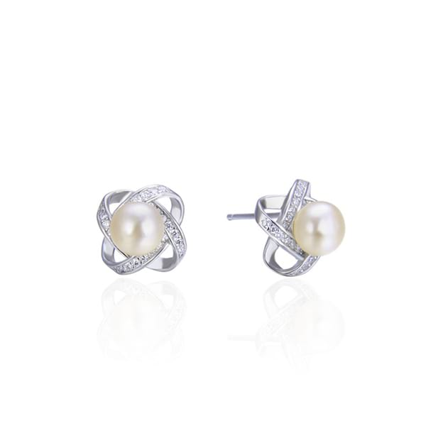 Women's Attractive Silver Earrings With Imitation Pearls
