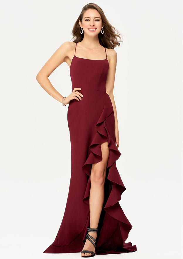 Sheath/Column Sleeveless Asymmetrical Elastic Satin Prom Dress With Cascading Ruffles Split