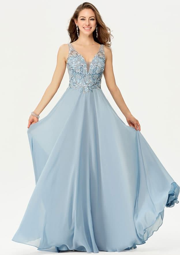 A-line/Princess Sleeveless Long/Floor-Length Chiffon Prom Dress With Sequins Beading