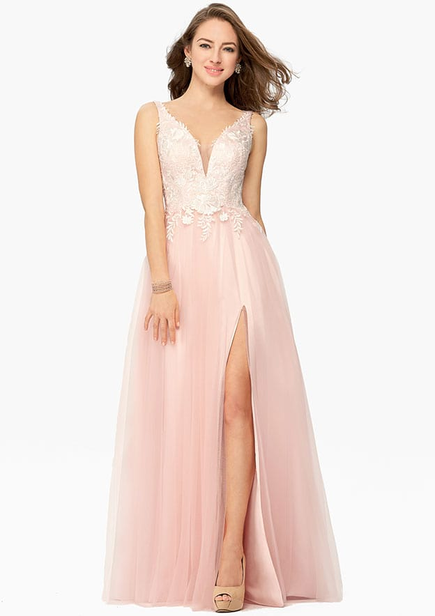 A-line/Princess Sleeveless Long/Floor-Length Tulle Prom Dress With Split Lace