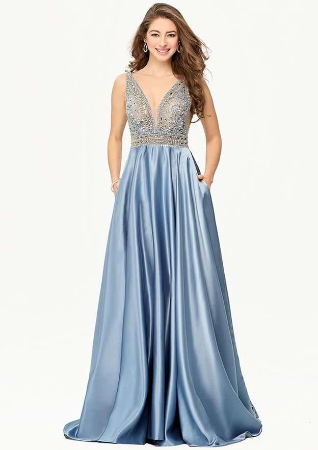 A-line/Princess Sleeveless Long/Floor-Length Satin Prom Dress With Rhinestone Sequins Beading Pockets