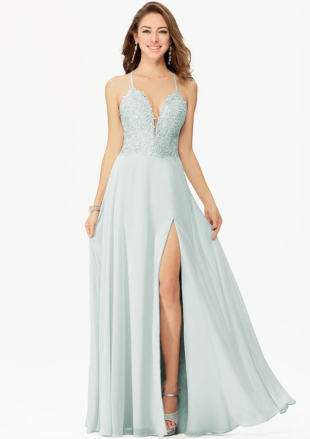A-line/Princess Sleeveless Long/Floor-Length Chiffon Prom Dress With Split Lace