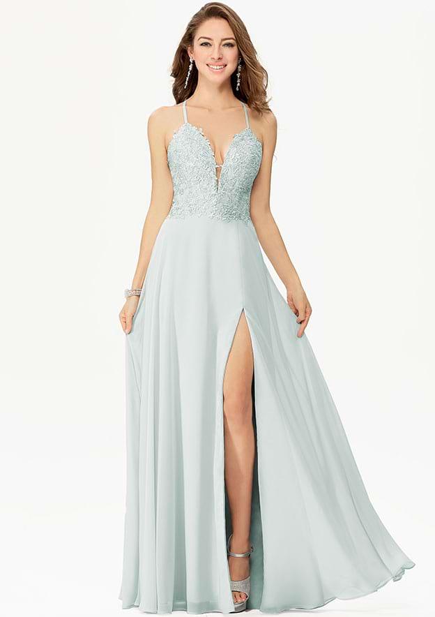 A-line/Princess Sleeveless Long/Floor-Length Chiffon Prom Dress With Split Lace