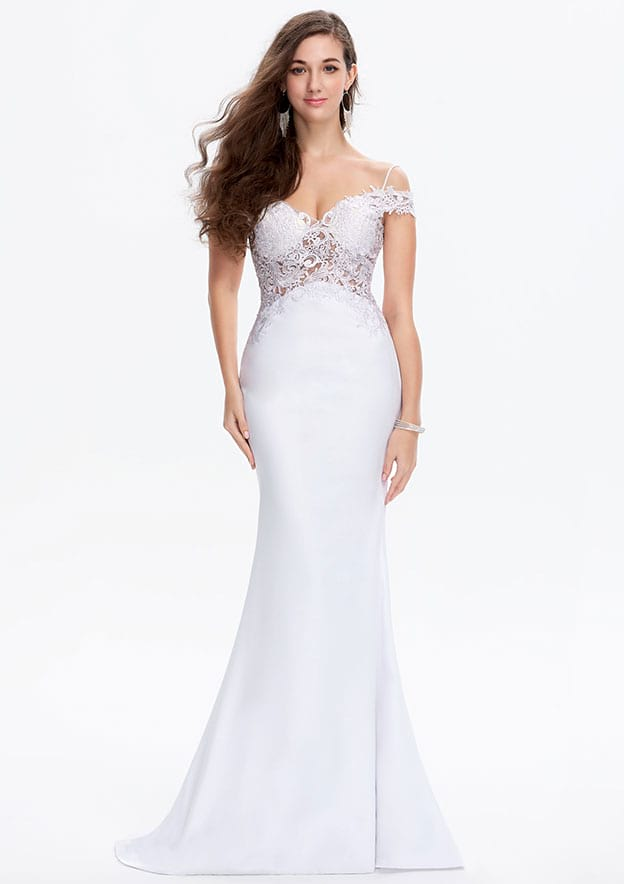 Trumpet/Mermaid Sleeveless Sweep Train Lace/Satin Prom Dress