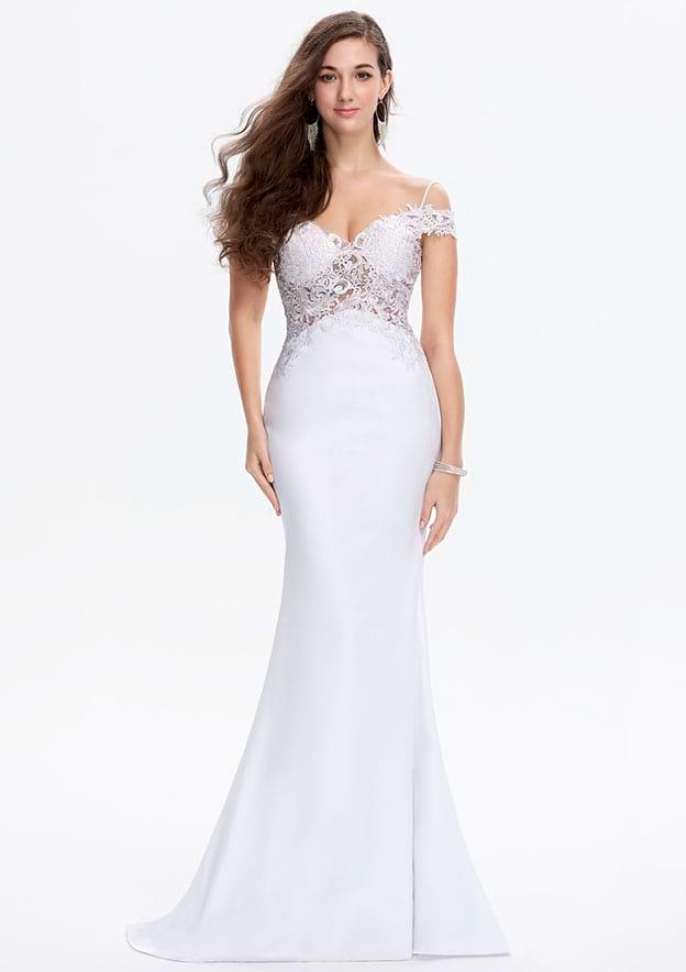 Trumpet/Mermaid Sleeveless Sweep Train Lace/Satin Prom Dress